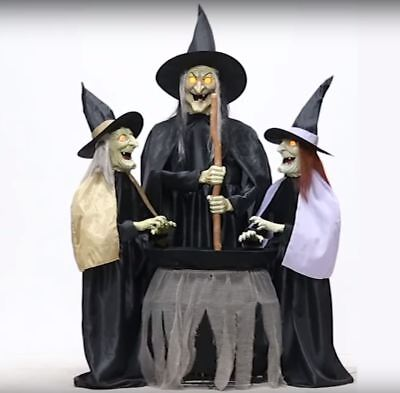 5 Ft Animated STITCH WITCH SISTERS Halloween Prop HAUNTED HOUSE (Animated Halloween Witches)