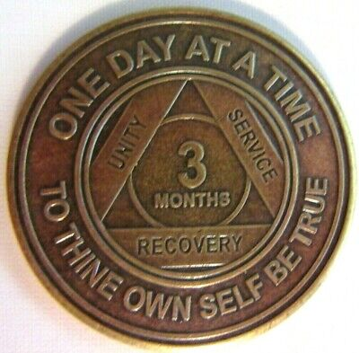 Alcoholics Anonymous AA 3 Month Bronze Medallion Token Coin Chip Sober Sobriety