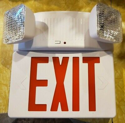 New Orbit Led Exit Sign Emergency Light Combo Esbl2n-r Double Sided Possible