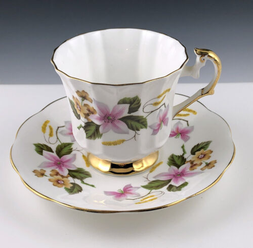 Vintage Elizabethan Fine Bone China Teacup & Saucer #2536? Pink & Yellow Flowers