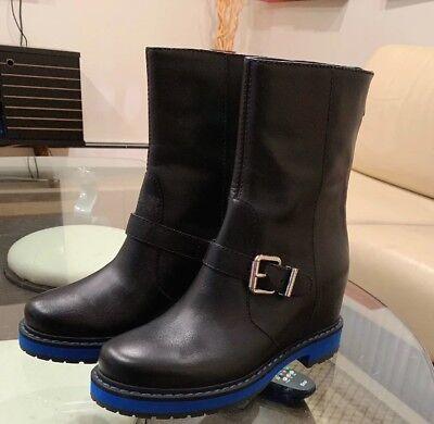 NEW FENDI HIDDEN-WEDGE MOTO BLACK LEATHER BLUE SOLE  BOOTS SHOES Size 8