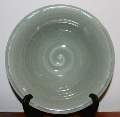 "1868-1912 Meiji Period Green Crackle Glaze Imprint Bowl 10.75"""