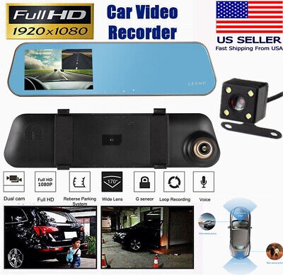 4.3'' HD 1080P Dual Lens Car DVR Rearview Mirror Dash Cam Recorder Camera USA