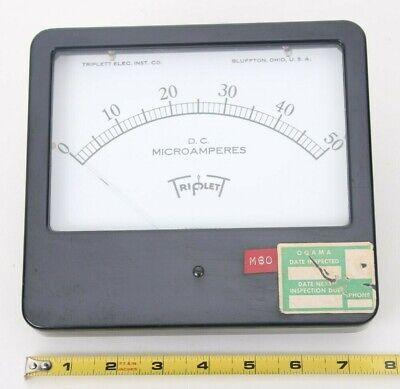 Vintage Triplett Direct Current Microamperes Panel Meter Gauge 0-50 Model 726