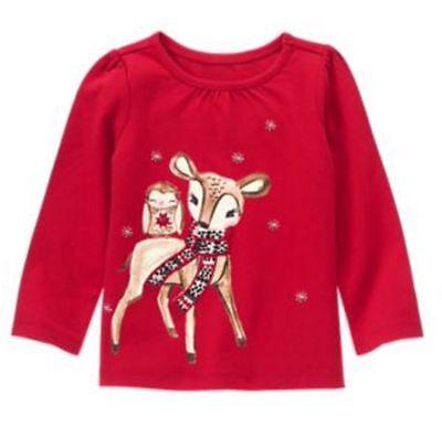 4t Tee (Gymboree 4T reindeer tee owl holiday snowflake holly red long sleeve NWT)
