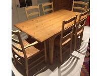 Wooden Kitchen / Dining Table. 169 x 90cm. 74cm high + 6 Chairs