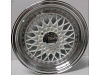 "BBS RS Grey 15"" inch Alloy Wheels 7J 8J 4x100 / 108 ET25 VW Golf Polo Fiat Audi A1 alfa bmw 3 d8l0"