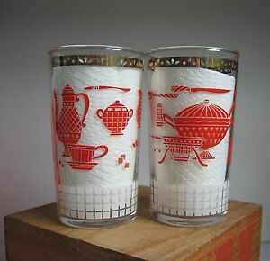 Vintage Pair Drinking Glasses - Red & White Kitchen Gadgets