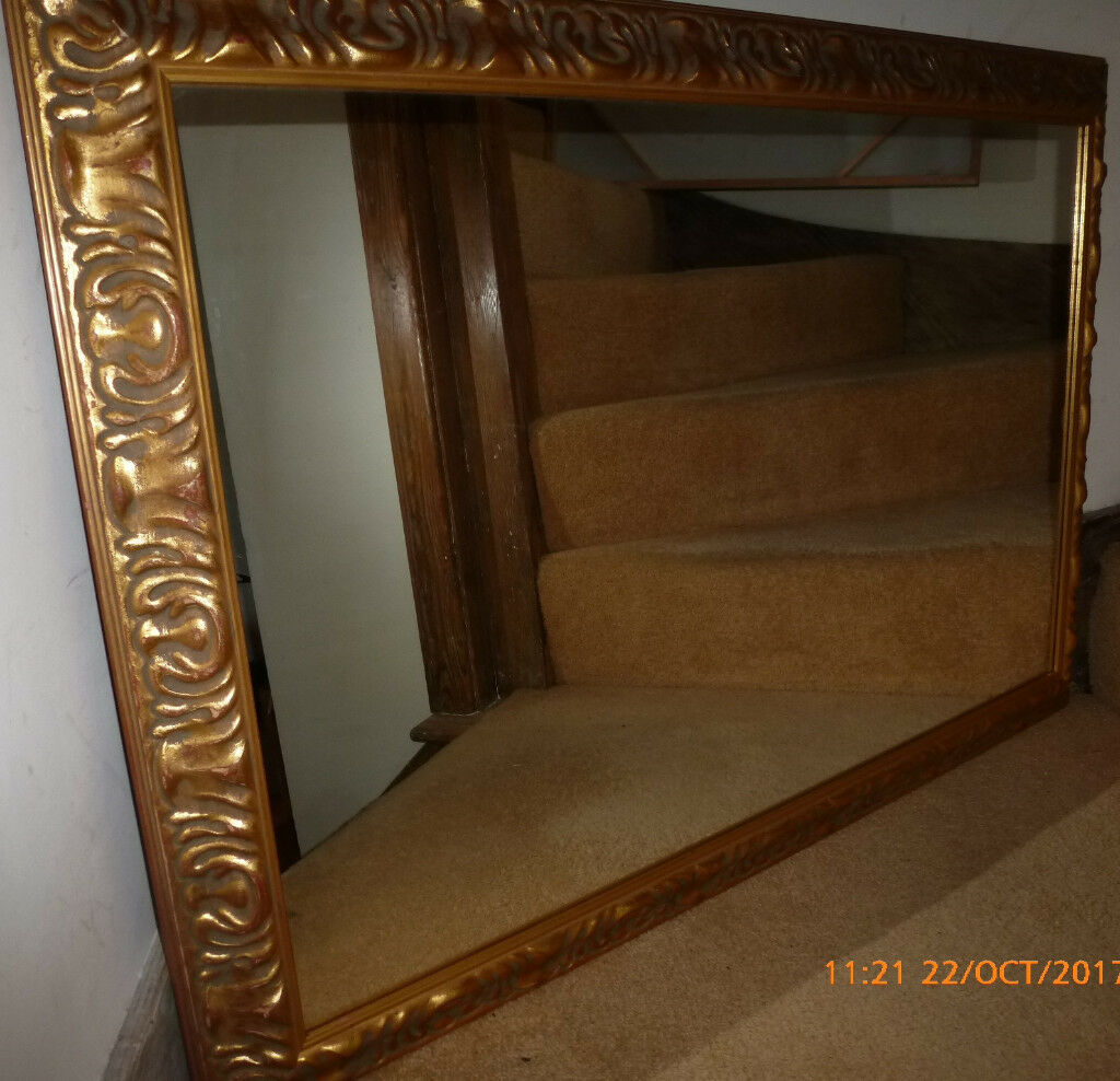 Vintage Heavy Ornate Wooden Framed Gold Gilt Mirror 41 inches x 28 inches Hallway Bedroom Dining