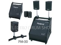 ROLAND V Drums PM-30 amp system monitor 200 watts sub & satellites - Superb - punchy