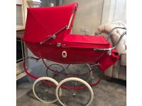 Silver cross dolls pram with bag and shopping tray + matching covers