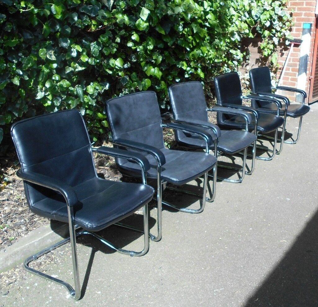 5 Black Faux Leather Dining Chairs/Croydon/Surrey/London