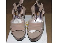 Krush Mink Wedge High Heels With Strappy Tops