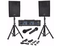 "(2) Peave10 10"" PA Speakers + PVI4B 4 Channel Powered Mixer + 2 Microfones"