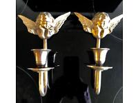 Two Vintage Brass Wall Sconce Candlestick holders