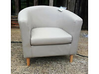 Brand New Leather Effect Tub Chair - Cafe Mocha. --Can Deliver--