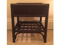 Vintage dark brown natural rattan/cane bedside tables from French luxury brand Epeda