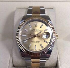 Rolex Datejust II 18ct Gold Steel Case & Bracelet Black Dial Watch 116333