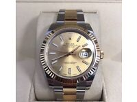 Rolex Datejust II 18ct Gold Steel Case & Bracelet Black Dial Watch 116333