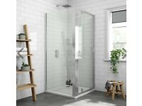 'Newark' Victorian Plumbing complete shower with tray and glass enclosure 760mm