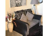FREE DELIVERY Shannon Black/Grey 3+2 Seater Sofa Fabric/Leather used