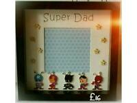 Superhero style button fathers day box frame