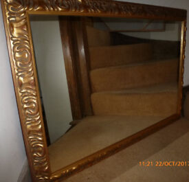 Vintage Heavy Ornate Wooden Framed Gold Gilt Mirror 41 inches x 28 inches Dining Room Hall Bedroom