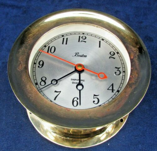 Vintage Boston Shipstrike Quartz Clock Timepiece Brass. #6758