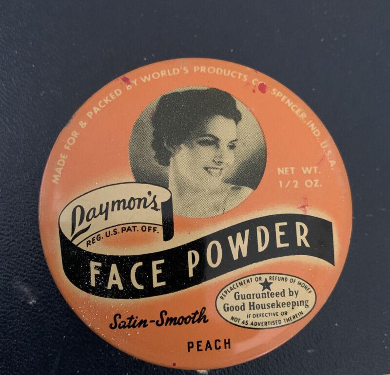 "1930's Art Deco Antique Laymon's Face Powder Tin With Powder 2.25"""