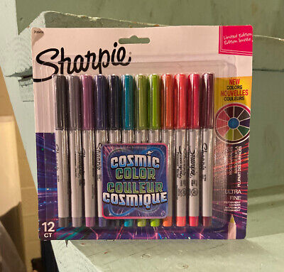 Sharpie Permanent Markers Ultra Fine Point Cosmic Color Edition 12 Ct New Sealed