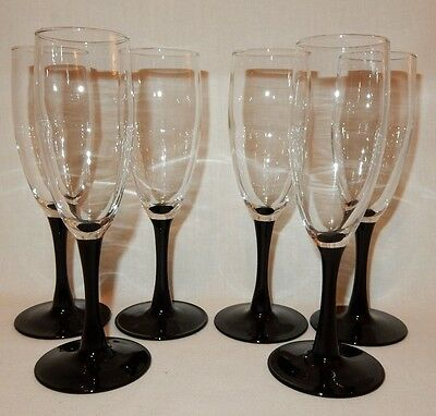 (Set of 8 Black Stem Wine Champagne Flutes Glasses Goblets 7 3/4