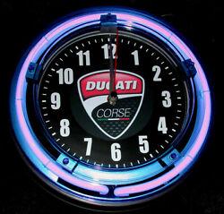 DUCATI MOTORCYCLES LOGO - 11 Blue Neon Wall Clock
