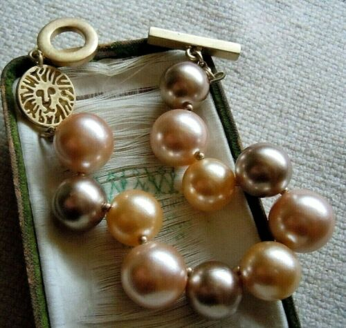 Vintage Anne Klein LION Head Chunky Faux Pearl Toggle Bracelet Estate Lot