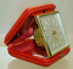 Vintage 1940s - 50s Sheffield 8 Day Travel Alarm Clock Made West Germany WORKS