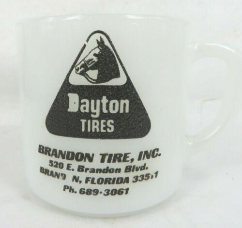 vintage Dayton TIRES BRANDON FLORIDA horse logo Federal milk glass coffee mug