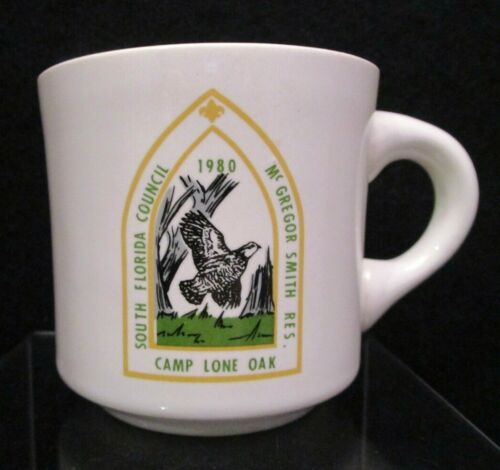 Boy Scout Mug Cup 1980 South Florida Council McGregor Smith Res Camp Lone Oak
