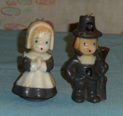 vintage THANKSGIVING GURLEY CANDLE LOT x2 (gray boy & girl pilgrim puritan)