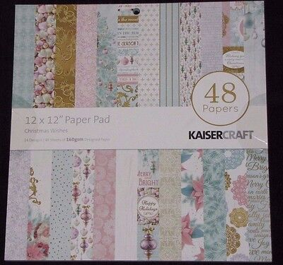 (Kaisercraft 'CHRISTMAS WISHES' 12x12 Paper Pad - 48 Sheets(24 Designsx2) RRP $20)