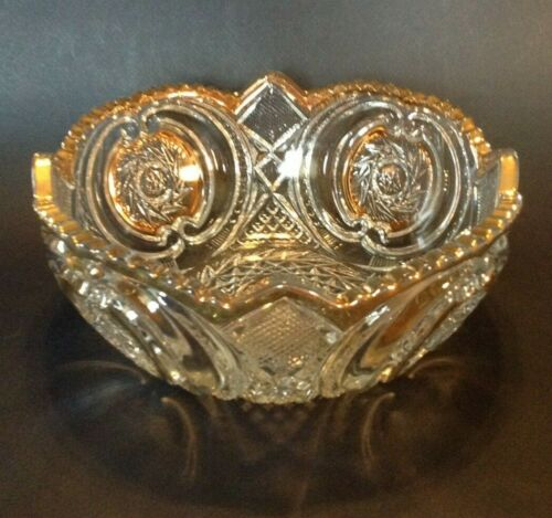 Large American Brilliant Cut Glass Bowl - Gold Gilded Accents - Saw Tooth Rim