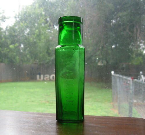 """6"""" Green Maille embossed 8-sided Caper Condiment Glass Bottle"""