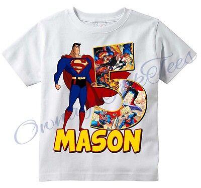 Superman Comic Superhero Custom T-shirt PERSONALIZE tshirt Birthday