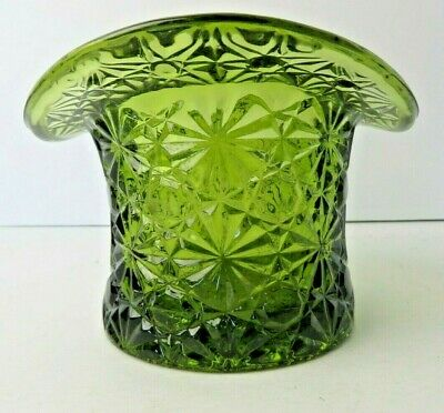 Vintage Glass Top Hat Green Pressed Glass Vase Centerpiece Dish - Top Hat Centerpiece