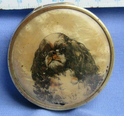1930 CAVALIER KING CHARLES SPANIEL HAND PAINTED DOG PARIS OOAK COMPACT