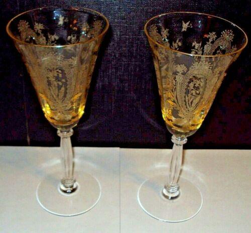 "2 TIFFIN FRANCISCAN La Fleure Mandarin Yellow Water Goblets Blown Glass 8 1/4"""