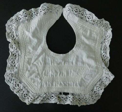 Antique Baby Bib with Decorative Stitching and Lace Trim