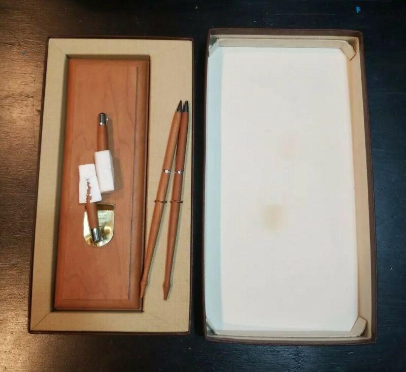 Vintage Hallmark Cherry Pen & Pencil with Desk Holder Base Set