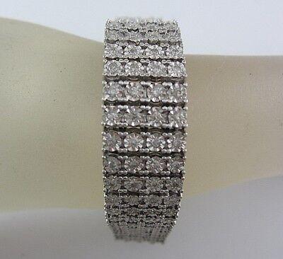 ESTATE LADIES 10K WHITE GOLD DIAMOND FASHION LINK BRACELET 5.00CT. *GIA $10,750*