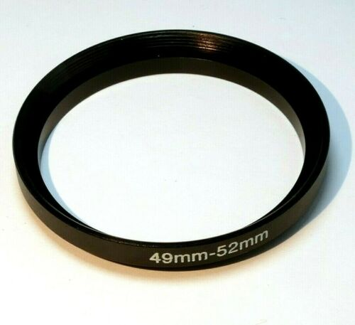 49mm to 52mm Step-up ring Metal adapter double threaded for lens filter