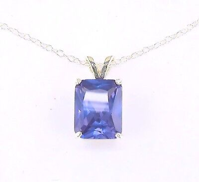 - Emerald Cut Created Alexandrite Solitaire Pendant with Chain Sterling Silver