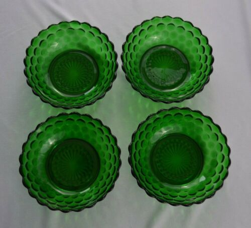 """4 Anchor Hocking Bubble Forest Green Cereal Bowls 5 3/8"""" Top Diameter"""